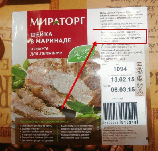 Калорийность свежей шейки - 320 Ккал