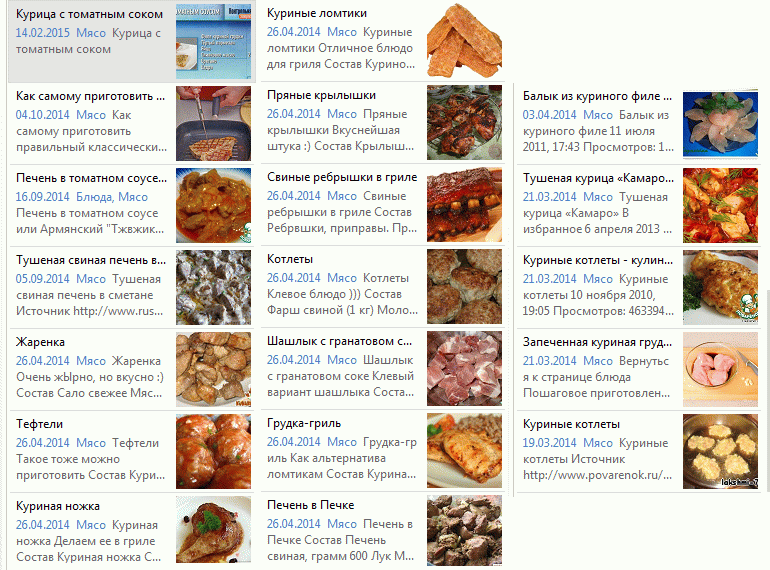 Подборка моих мясных блюд