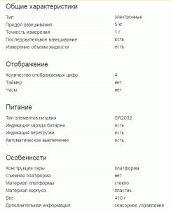 Характеристики кухонных электронных весов
